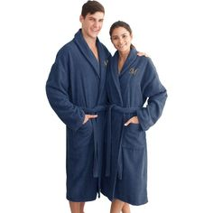 Linum Unisex Herringbone Weave Midnight Bathrobe White - HB50-LX-CHRY-00-R