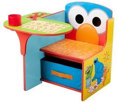 Advertisement - Sesame Street Elmo Toddler Desk Chair Playful Colors MDF Wood w/ Storage Bin Toddler Desk And Chair, Desk And Chair Set, Toddler Table, Toddler Playroom, Baby Chair, Toddler Bed, Storage Chair, Fabric Storage Bins, Playroom Storage