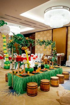 Guest Table + Partyscape from a Madagascar Birthday Party via Kara's Party Ideas KarasPartyIdeas.com (5)