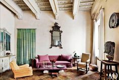Purple sofa with mix-and-matched armchairs // Italian design