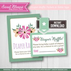 Diaper Raffle Tickets and Table Sign   Baby Girl   Baby Shower Ideas   Floral Garden Theme