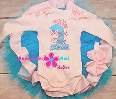 Costumas aniversar 1an personalizat brodat by Anamaria Ami turcoaz roz pal