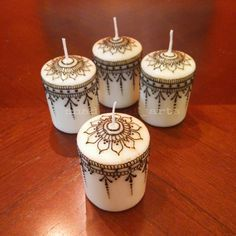 Handcrafted Henna Candle Set!! Delicate, simple yet elegant!! Perfect for gifting!!