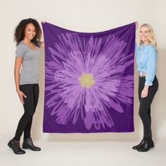 Garden Flower Fleece Blanket - purple floral style gifts flower flowers diy customize unique
