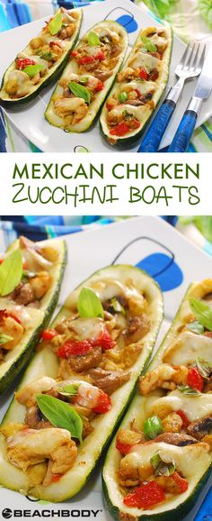 These Mexican Chicken Zucchini Boats are a healthier spin on chicken burritos, but they still have that same rich flavor with a slightly spicy kick. Not only is it an easy way to add more veggies into your meal, but it also has 24 grams of protein! // healthy recipes // healthy mexican dishes // lunches // dinners // chicken recipes // high protein // vegetable ideas // Beachbody // BeachbodyBlog.com