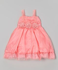 This Coral Organza Flower A-Line Dress - Girls is perfect! #zulilyfinds