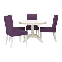 Looking for a round table. I like the purple chairs on this one, and it is affordable at only $695