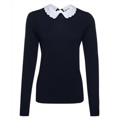 Jaeger Jaeger Wool Scallop Collar Sweater (10.725 RUB) ❤ liked on Polyvore featuring tops, sweaters, french navy, jaeger sweater, scalloped top, navy sweater, mini sweater y navy blue sweater
