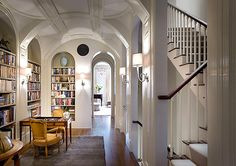 Hall Library....not the biggest fan of the ceiling, but love the idea and the stairs.
