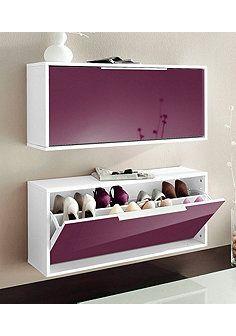Schuhschrank »Rena« - Weiß-brombeer glänzend Floating Nightstand, Shoe Rack, Bathroom Lighting, Shelves, Mirror, Table, Dividers, Furniture, Home Decor