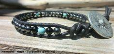 Handmade Men's Onyx Turquoise Bracelet  Bold by OffOnAWhimJewelry, $21.50