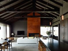Fireplace and TV configuration Farm House by Canny Architecture