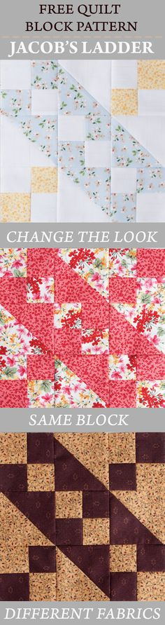 FREE Quilt Block Pattern: Jacob's Ladder. Nancy's Notions | Quilt Block | Sewing