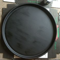 Painted the drum lid with chalkboard paint