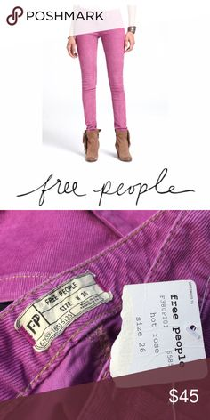 Free People Pants Free People Purple Corduroy Pants. New with tags. Great condition as they've never been worn. Comfortable fit in a fun color. Plum, purple color. Free People Pants Skinny