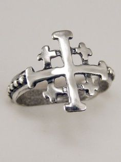 The Jerusalem Cross Ring in Sterling Silver with a White Moonstone Made in America Jerusalem Cross, Dragon Ring, Little Presents, Cross Art, White Moonstone, Chunky Jewelry, Right Hand Rings, Silver Dragon, Thumb Rings