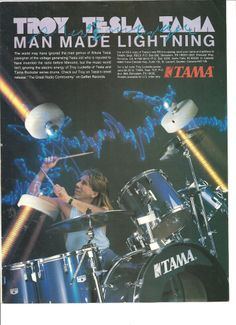 Tesla, Troy Lucketta, Tama Drums, Full Page Promotional Ad
