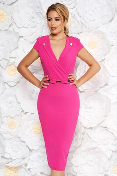 """StarShinerS pink elegant midi pencil dress scuba with metal accessories, metal accessories, button accessories, tented cut, """"V"""" cleavage, without clothing, short sleeves, scuba, double knit from neoprene with vivid and colourful or 3D prints, back zipper fastening Short Outfits, Dress Outfits, Dresses, 3d Prints, Double Knitting, Pencil Dress, Size Clothing, New Dress, Curvy"""