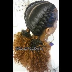 2 feed in braids into low ponys