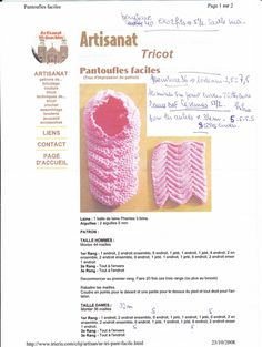 chaussons adultes_0001 Knitted Slippers, Crochet Shoes, Slipper Boots, Filet Crochet, Knitting Socks, Needle And Thread, Knitting Patterns, Crafts, Points