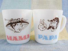 MAMA PAPA Vintage Milk Glass Mugs Set by ThoughtfulVintage on Etsy, $25.00 #Grandparents #MAMA #PAPA #ThoughtfulVintage