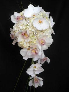 Orchids and hydrangea! Beautiful modern cascade