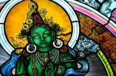 Green Tara stained glass window in Tenzin Palmo's Nunnery, North India