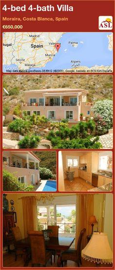 4-bed 4-bath Villa in Moraira, Costa Blanca, Spain ►€650,000 #PropertyForSaleInSpain