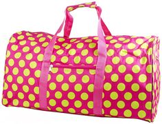 World Traveler Pink and Green Polka Dots Gym Duffle Bag 21-inch *** Discover this special product, click the image : Christmas Luggage and Travel Gear