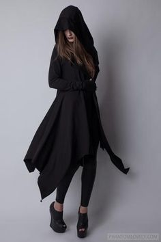 Darkness Hooded Cardigan Cloak Cotton French Terry