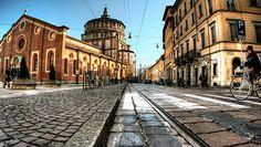 Milano corso Magenta e Chiesa di Santa Maria delle Grazie nel cui refettorio si trova L'ultima cena di Leonardo