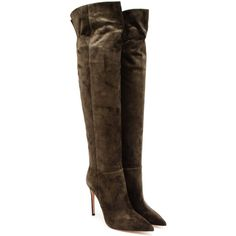 GIANVITO ROSSI Suede Knee High Boots (€740) ❤ liked on Polyvore featuring shoes, boots, botas, scarpe, gianvito rossi, pointed toe stilettos, suede leather boots, stiletto boots, stiletto high heel boots and suede knee-high boots