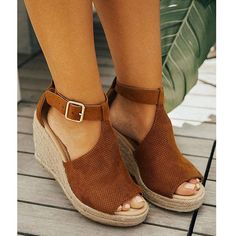 61a3803e50c2 Women Chic Espadrille Wedges Sandals with Adjustable Buckle Wedges Outfit