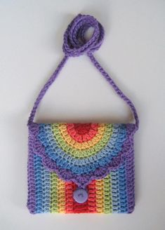 Crochet bag, Rainbow bag, Pattern in both UK and US crochet terms Crochet Shell Stitch, Crochet Motifs, Crochet Patterns, Crochet Handbags, Crochet Purses, Crochet Bags, Crochet Crafts, Crochet Projects, My Other Bag