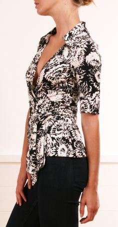 Diane von Furstenberg vintage black and white wrap-over blouse