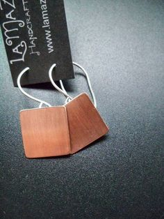 Copper plate dangle earrings with sterling silver ear wires #handmade  #jewelry