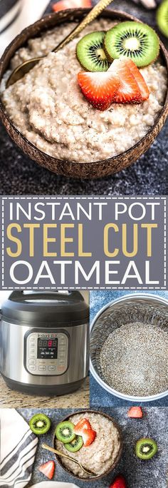 Instant Pot Steel Cut Oatmeal – an easy recipe for perfectly light & fluffy electric pressure steel cut oats.Best of all, top with any fruit & berries. Quick Healthy Breakfast Ideas & Recipe for Busy Mornings Breakfast Crockpot Recipes, Oatmeal Recipes, Brunch Recipes, Cooking Recipes, Cooking Games, Cooking Ideas, Cooking Oatmeal, Cooking Bacon, Cooking Turkey