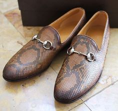 Gucci Mens Python Horse-bit Loafers