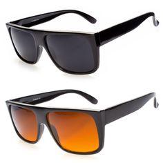 0d8adff680ae Mens Celebrity Eyewear Flat Top Rectangular Sunglasses Black Lens Frame  Fashion Snowboarding Outfit
