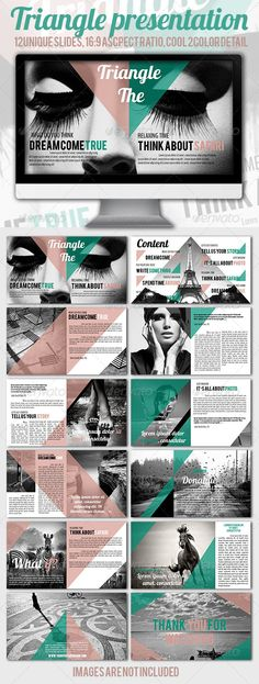 Buy Triangle Presentation by on GraphicRiver. 12 unique modern slides Master slides ready Aspect ratio If you want a unique way to present something, this is. Design Brochure, Booklet Design, Brochure Template, Brochure Layout, Corporate Brochure, Presentation Layout, Presentation Templates, Presentation Slides, Yearbook Design