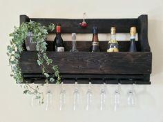 Cantinetta mensola da parete porta bottiglie porta bicchieri calici vino pallet winerack design rustico vintage