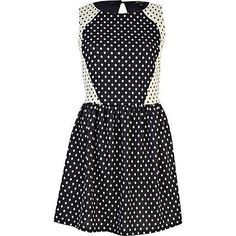 Navy polka dot contrast panel skater dress - dresses - sale - women