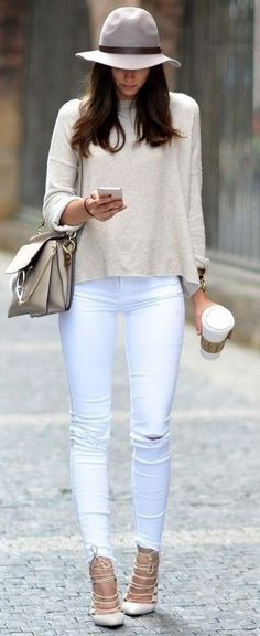 #summer #trending #fashion | Nude + White                                                                             Source