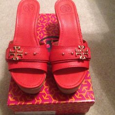 Reddish orange Tory Burch wedge Never worn! Tory burch Habanero pepper wedge with gold accent Tory Burch Shoes Wedges