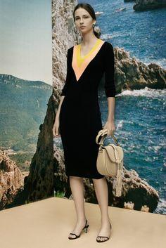 Deep v insert in lighter colour than rest of dress| Altuzarra Resort 2016 Fashion Show
