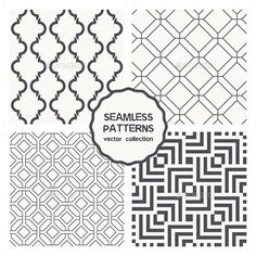 Vector Set of Four Geometric Seamless Patterns — Photoshop PSD #print #wallpaper • Available here → https://graphicriver.net/item/vector-set-of-four-geometric-seamless-patterns/9677209?ref=pxcr