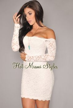 61a88e34c0c Off-White Lace Off-The-Shoulder Long Sleeves Dress White Lace Mini Dress.  www.hotmiamistyles.com