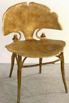 Art Nouveau Contemporain - Collection Ginkgo - Chaise - Bronze Doré - Claude…