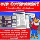 Government Unit & Lapbook! with 7-page Informational text, unit test, and lapbook templates.