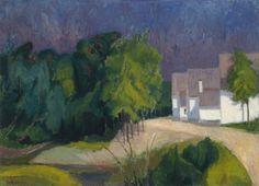 Viktor Lederer (Austrian, b. 1935), Landschaft mit Häusern (Burgenland) [Landscape with houses (Burgenland)], 1962. Oil on canvas, 65 x 90 cm.